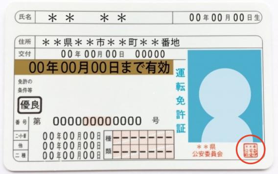 公印の例、運転免許証